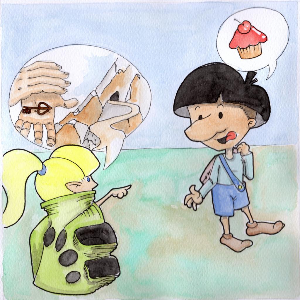 Nodo thinks that a dragon is a creamy dessert!