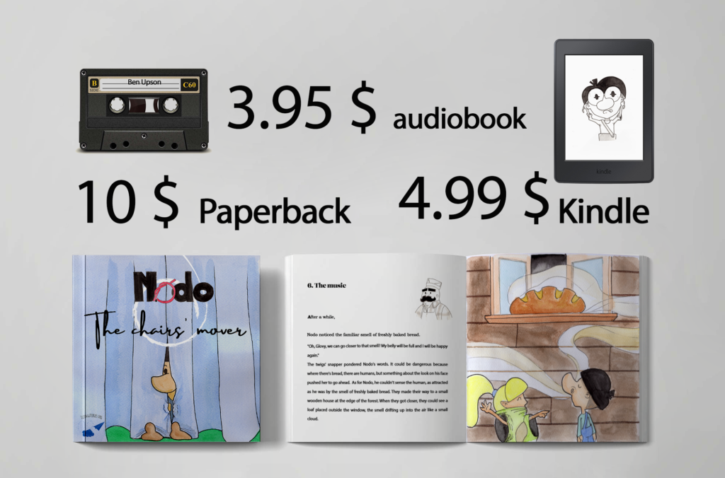 Nodo the chairs mover, in paperback, kindle and audiobook.